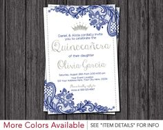 Quinceanera Invitation • Princess, Lace, Royal Blue and Silver • Quinceañera Invitations by PuggyPrints on Etsy