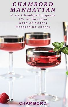 What better way to celebrate the upcoming holiday season than with this recipe for a Chambord Manhattan. Thanks to the festive color of the Chambord Black Raspberry Liqueur, this cocktail truly has everything you're looking for in a party drink!