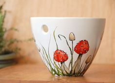 Custom Hand Painted Noodle Bowl  Botanical Design  by yevgenia, $75.00
