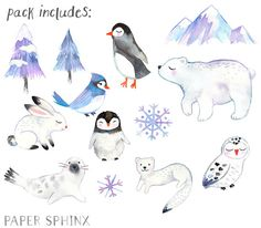 13 sweet winter hand-painted watercolor animals and elements. A polar bear, penguins, bird, bunny, owl, snowflakes, and other winter illustrations
