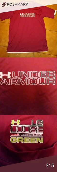 """Men's Under Armour Heat Gear Shirt Men's maroon Under Armour Heat Gear Shirt. Crew neck & short sleeves. The ends of the 2 sleeves as well as the back hem is bordered in white. The Under Armour logo & the lettering on the front is a pale pink color. The logo at the back of the neck is white. The paint has cracked somewhat on the circular arrow (see last pic) but barely noticeable.  Label says """"heat gear"""" so I'm guessing perhaps it holds in heat? Very nice lightweight shirt. Sz L. From Under…"""