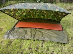 """USGI PONCHO SHELTER - DIY - The """"Alpha Tent"""" - 2 people can snap in another poncho as a floor, or snap two alpha tents together for a pretty solid shelter that gives way more room than the traditional poncho pup tent."""