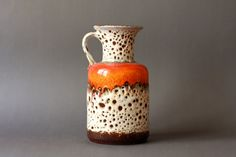 West German Pottery Fat Lava Orange and White Handled vase by Jasba