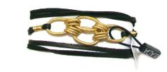 """ADA Collection 14k Gold Plated """"Kat"""" Genuine Black Leather Wrap Bracelet With Etched Gold Chain ADA. $39.95. Matches Kat Necklace. Designed by Ada Komorniczak in California. 26 inches long. Wrap and Tie to finish. One size fits all. Center detail is 2 inches wide.. Style is meant to layer with other bracelets for a stacked effect, but great on it's own too.. 14K gold plated double black leather strand wrap bracelet with etched gold oval chain"""