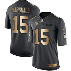 nike giants 15 brandon marshall black youth stitched nfl limited gold salute to service jersey