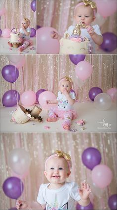 a birthday celebration for a unicorn lover - 1st birthday photography - pink, purple, and gold glitter