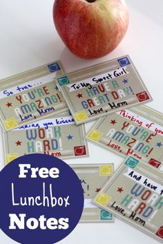 Getting ready for back to school?  Here are some free printable lunch notes to tuck in your child's lunch and let them know you are thinking of them!  See more party planning ideas at CatchMyParty.com!