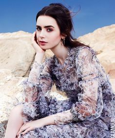 Lily Collins for Glamour magazine 2017.