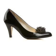 Van Dal Holt Black Patent Court Shoe