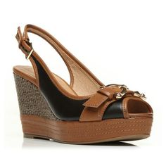 Palomina Black Wedged Day Sandals