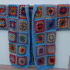 Veste écolo crochet multicolore bleu