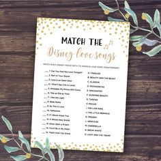 Bridal Shower Game - Match the Disney Love Songs INSTANT DOWNLOAD One of the most popular bridal shower games, Match the Disney Love Songs a fun way to entertain the shower guests and test their Disney knowledge. The game instructions are included on each game card for your guests
