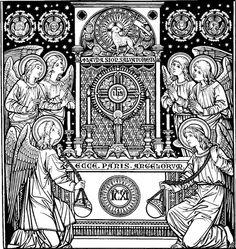 Catholic line art - The Eucharist Catholic Missal, Catholic Sacraments, Catholic Priest, Catholic Art, Religious Art, Catholic Traditions, Roman Catholic, Feast Of Corpus Christi, Woodcut Art