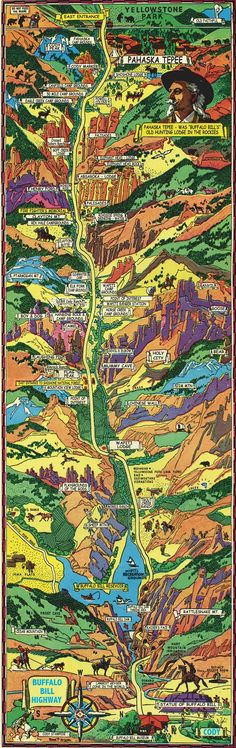 In honor of Buffalo Bill's birthday on February 26th here is an infographic illustrating everything along the Buffalo Bill Highway, which runs from Yellowstone's east gate to Cody, Wyoming. Visit the Buffalo Bill Museum in Cody to learn more about Buffalo Bill.