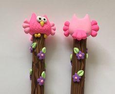 Polymer Clay Pinks Owl Pen by handmademom on Etsy