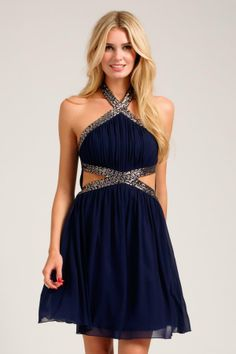 1865e33d22b Little Mistress Women s Navy Halterneck Embellished Mesh Detail Dress -  Overstock™ Shopping - Top Rated LM Evening   Formal Dresses