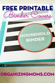 Free Printable Binder Covers. Download and use to organize your own paperwork! Great way to keep your family organized.
