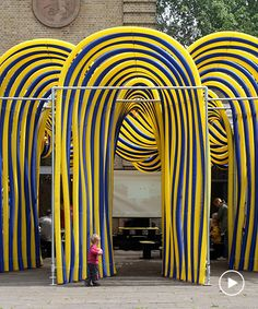 in london's battersea park, pump house gallery has unveiled a temporary pavilion designed by NEON made from colorful flexible duct pipes. Neon Pumps, Pavilion Design, Pump House, Artistic Installation, Pipes, Flexibility, Sculpture, Landscape, Park