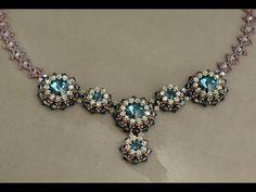▶ Sidonia's handmade jewelry - Blue Roses Necklace - Swarovski Necklace P1 - YouTube