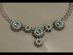 ▶ Sidonia's handmade jewelry - Blue Roses Necklace - Swarovski Necklace P1 - YouTube