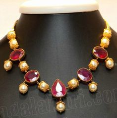 Ruby and Pearl Necklace - SouthJewelry.com