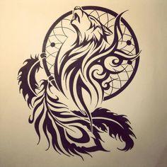 Wolf Face In Dream Catcher Feather Tattoo Design