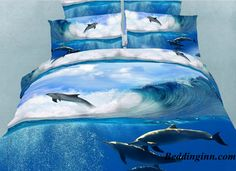 #dolphin #sea #beddingset Buy link-->http://goo.gl/oB3IpN Live a better life, start with @beddinginn http://www.beddinginn.com/product/Jumping-Dolphin-in-the-Sea-Print-4-Piece-Bedding-Sets-Duvet-Cover-Sets-10604045.html