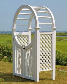 Whether it's acting as a gate for your fence, or ushering you into a secret rose garden this arbor will delight all with its timeless beauty. The lattice will provide a perfect place for your flowers or vines to climb, becoming one with your garden.