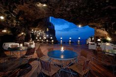 ITALY – Hotel Ristorante Grotta Palazzese, Polignano a Mare, Bari, Apulia (Puglia). The hotel's restaurant is located inside a cave. Oh The Places You'll Go, Places To Travel, Places To Visit, Travel Destinations, Romantic Destinations, Europe Places, Holiday Destinations, Resorts, Hotel Europa