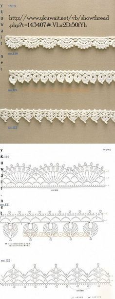 """diy_crafts-Crochet Lace Edging More by coleen """"Crochet Patterns Lace Crochet Lace Edging More Mehr"""", """"like about 3 inches wider"""", """"Handkerc Crochet Boarders, Crochet Edging Patterns, Crochet Lace Edging, Crochet Diagram, Crochet Chart, Lace Patterns, Crochet Designs, Crochet Doilies, Crochet Flowers"""