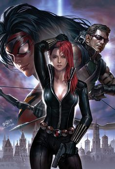 The Avengers, Spider-Woman, Black Widow & Hawkeye Marvel Dc Comics, Heros Comics, Hq Marvel, Marvel Heroes, Marvel Women, Marvel Girls, Comics Girls, Hawkeye, Super Heroine