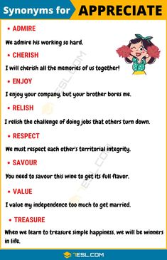 This lesson provides a list of common synonyms for appreciate with useful example sentences and ESL infographics. Learning those words to us Book Writing Tips, English Writing Skills, Learn English Grammar, English Vocabulary Words, Learn English Words, English Phrases, English Language Learning, Writing Words, English Lessons