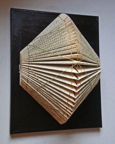 Folded Book Sculpture with Embroidery by yinsteadofi on Etsy Folded Book Art, Book Folding, Book Sculpture, Paper Sculptures, Paper Art, Paper Crafts, Book Lamp, Book Flowers, Book Projects