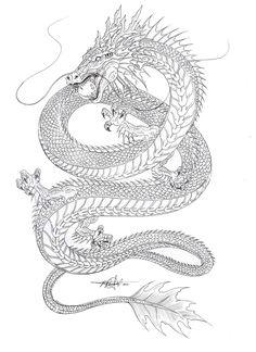 Dragon Tattoo Outline, Dragon Tattoo Back, Dragon Tattoos For Men, Dragon Sleeve Tattoos, Japanese Dragon Tattoos, Dragon Tattoo Designs, Chinese Dragon Drawing, Tattoo Daruma, Doberman Tattoo