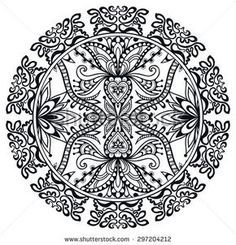 Black and white Mandala, tribal ethnic ornament, vector islamic arabic indian pattern.