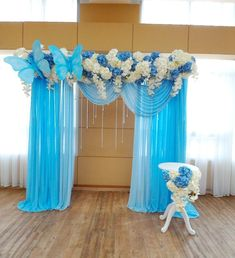 No photo description available. Quince Decorations, Stage Decorations, Wedding Decorations, Butterfly Birthday Party, Butterfly Wedding, Paper Flower Backdrop, Paper Flowers, Wedding Events, Our Wedding