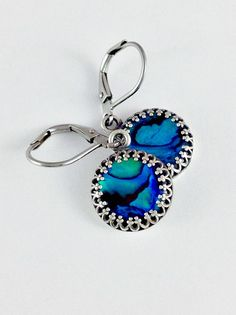 Blue abalone shell earrings. Surgical stainless steel leverback. Handmade paua shell jewelry.