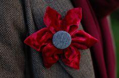 Red velvet flower brooch pin