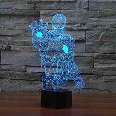 Homem de ferro Os Vingadores da Marvel 3D Acrílico base de decoração do casamento da lâmpada luz da noite LEVOU banco de potência powerbank diy 7 transformar a cor(China (Mainland))