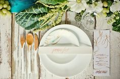 pretty scripty elements // place setting and menu // dipped flatware