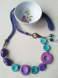 #handmade #necklace #polymerclay #brass #braided #knotted #green #purple