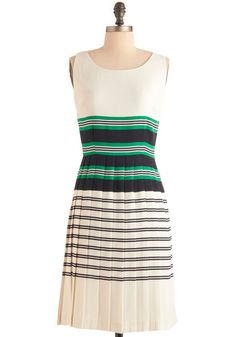 A Perfect Tennis Dress - Long, Vintage Inspired, Green, Blue, White, Stripes, Sleeveless, Spring, Pleats