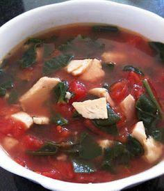 HCG Diet P2 Chicken, Spinach, Tomato Soup. This is a good substitute for your tomato/basil soup but half the sugar.
