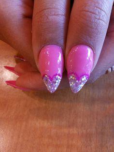 Heart glitter nails, pink, gel, long, sharp