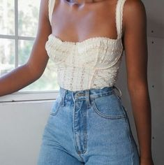 SOLD cream eyelet bustier tank top for a size XS/S (B cup). Very stretchy […] The post SOLD cream eyelet bustier tank top for a size XS/S (B cup). Very stretchy an… appeared first on How To Be Trendy. Look Fashion, 90s Fashion, Fashion Outfits, Girl Fashion, Romantic Style Fashion, Fashion Ideas, Travel Outfits, Modest Fashion, Fashion Clothes