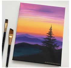 Small Canvas Paintings, Easy Canvas Art, Small Canvas Art, Easy Canvas Painting, Mini Canvas Art, Sunset Acrylic Painting, Easy Nature Paintings, Diy Canvas, Sunset Paintings