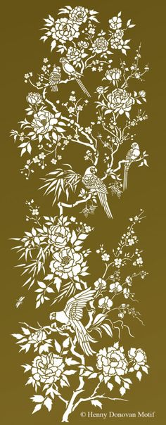 Fantastic Parrot Peony Chinoiserie Stencil an intricate chinoiserie design with exotic birds and parrots, and peonies, orchids, roses and blossom sprigs Peony Flower, Blossom Flower, Aqua Background, Persian Blue, Summer Sky, Paint Effects, Oriental Design, Different Flowers, Stencil Painting