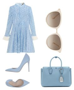 """blue and white lace"" by erc-style ❤ liked on Polyvore featuring Topshop Unique, Le Silla, MCM and Chopard"