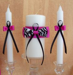 Instead of the pink ribbon you could use red. Zebra print candle and tapers set