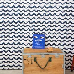 Wallpaper . 2 rolls - Respositionable / Blue Waves